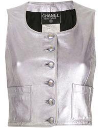 Top smanicato di Chanel Pre-Owned in Black