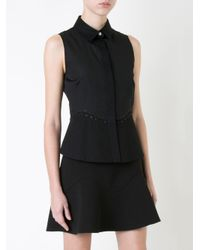 Alexander Wang Black Sleeveless Peplum Shirt