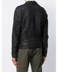 Veste en cuir à épaules structurées Salvatore Santoro pour homme en coloris Black