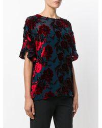 P.A.R.O.S.H. Blue Floral Print T-shirt