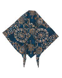 Brunello Cucinelli ジオメトリックプリント スカーフ Blue