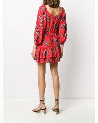 Vestido corto con cuello retorcido y motivo floral IRO de color Red