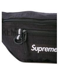 メンズ Supreme ロゴパッチ ベルトバッグ Black