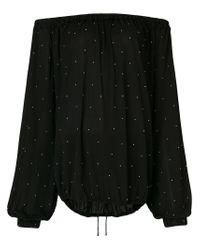 Saint Laurent Black Peasant Studded Blouse