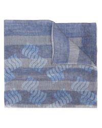 Giorgio Armani - Blue Fine Striped Scarf - Lyst