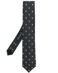 Alexander McQueen Black Skull And Polka Dot Tie for men