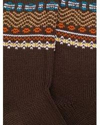 YMC パターン靴下 Brown