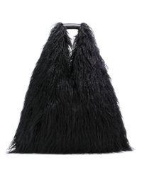 MM6 by Maison Martin Margiela Black Schultertasche mit Faux Fur