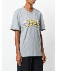 MSGM Gray Floral Embellished Logo T-shirt