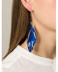 Aurelie Bidermann Blue Swan Feather Earrings