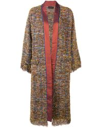 Etro Multicolor Jacquard Edging Knitted Coat