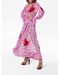 Ashish Pink Sequin Heart Embellished Maxi Wrap Dress