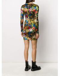 Versace Jeans Yellow Kleid mit barockem Print