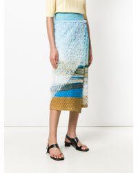 Issey Miyake Blue Printed Wrap Skirt