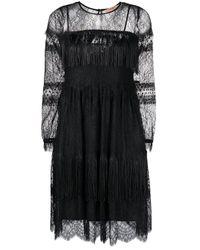 Twin Set Black Fringed Lace-sleeve Dress