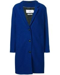 Closed Blue Buttoned Single Breasted Coat