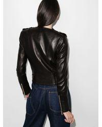 Balmain Leather Biker Jacket Black