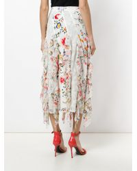 Alice + Olivia White Floral-print Lace-trimmed Ruffled Midi Skirt