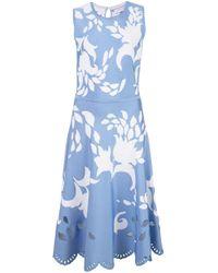 Carolina Herrera フローラル ジャカードドレス Blue