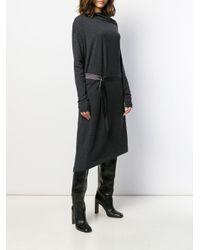 Robe en maille à taille ceinturée Brunello Cucinelli en coloris Gray