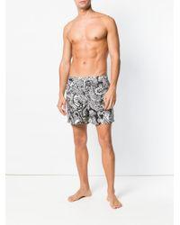 Etro - Black Paisley Print Swim Shorts for Men - Lyst