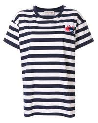 Être Cécile Blue Embroidered Breton T-shirt