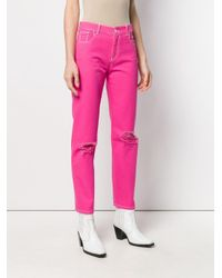 Джинсы С Порезями MSGM, цвет: Pink