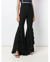 Versace ドレープ フレアパンツ Black
