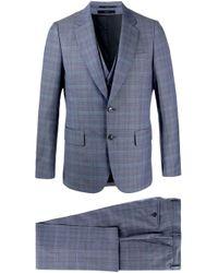 Paul Smith Dreiteiliger Anzug mit Karomuster in Blue für Herren