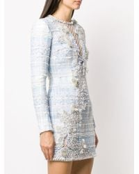 Balmain ビーズ ツイード ドレス Blue