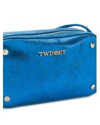 Twin Set - Blue Metallic Studded Shoulder Bag - Lyst