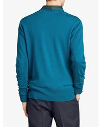 Burberry - Blue Check Detail Sweater for Men - Lyst