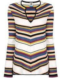 Maglione con scollo a V di M Missoni in Multicolor
