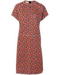 Marni Multicolor Floral Print Short Sleeve Dress
