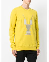 Rick Owens Drkshdw Yellow Embroidered Sweatshirt for men