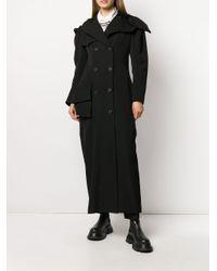 Yohji Yamamoto Black Asymmetric Double-breasted Wool Coat