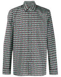 Prada Hemd mit geometrischem Print in Green für Herren