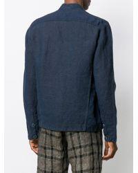 Transit Blue Mock Collar Buttoned Jacket for men