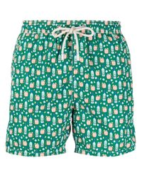 Mc2 Saint Barth Green Graphic-print Swim Shorts for men