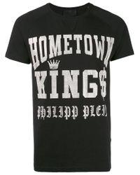 Philipp Plein Black 'hometown Kings' Logo T-shirt for men