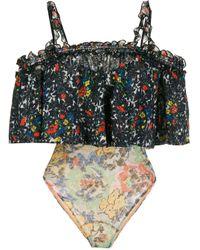 Missoni Black Floral Ruffled Swimsuit