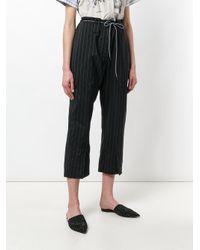 ODEEH Black Pinstripe Trousers