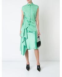 Sies Marjan ドレープ装飾 シャツワンピース Green