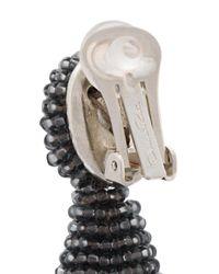 Oscar de la Renta - Gray Beaded Tassel Earrings - Lyst