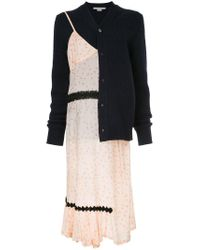Comme des Garçons Blue Floral Dress With Attached Cardigan