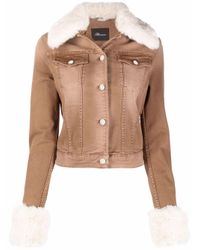 Blumarine Brown Faux-fur Trim Jacket