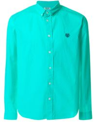 KENZO Blue Tiger Embroidered Shirt for men