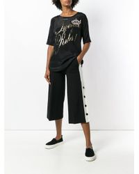 Twin Set Black Popper Cropped Trousers
