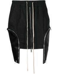 Rick Owens Black Drawstring Mini-skirt With Oversized Patch Pockets