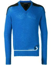 メンズ Prada Vネック セーター Blue